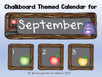 Chalkboard Style Calendar Cards - September