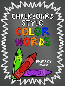 Chalkboard Style Crayon Doodle Color Words