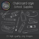 Chalkboard Style School Supply Clipart