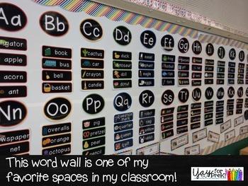 Back to School - Chalkboard/White Word Wall {preschool, prek, kindergarten}