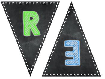 Chalkboard Subject Pennants