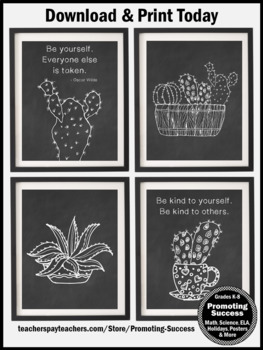 Chalkboard Succulent Classroom Decor Set 8, Motivational Posters