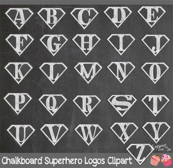 Chalkboard Superhero Super Hero Logos Clipart Set