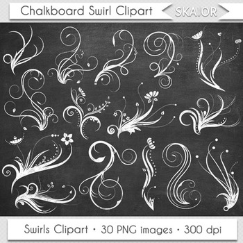 Chalkboard Swirls Clip Art Flourish Clipart White Floral Ornaments Invitations