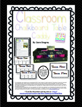 Chalkboard Table Caddy - Classroom Organization Freebie!
