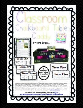 Chalkboard Table Caddy - Classroom Organization Freebie!