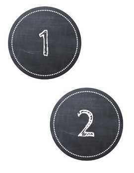 Chalkboard Table Number Labels with Chalk Font