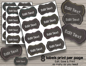 Chalkboard Tags EDITABLE Labels - Organize - Classroom Supplies