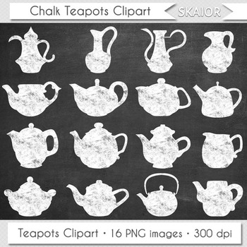 Chalkboard Teapots Clipart Tea Time Clip Art Kitchen Appliances Chalk Teapots