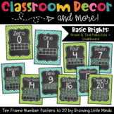 Chalkboard Ten Frame Number Posters- Green and Aqua