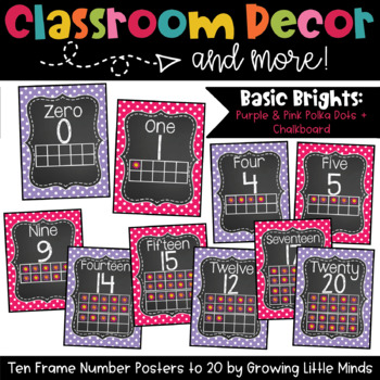 Chalkboard Ten Frame Number Posters- Purple and Pink