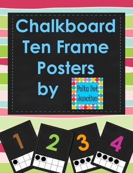 Chalkboard Ten Frame Posters 0-10