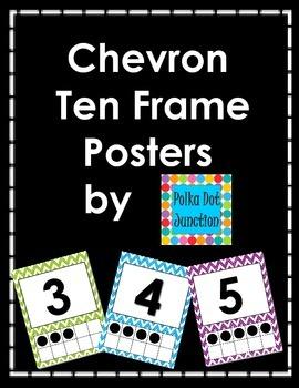 Chevron Ten Frame Posters 0-10