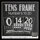 Ten Frames: Numbers to 20 Chalkboard Themed