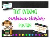 Chalkboard Text Evidence Sentence Starters #2