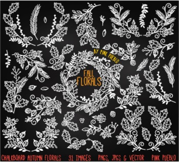 Chalkboard Thankgiving and Autumn Flowers and Laurels Clipart Clip Art