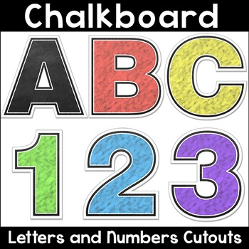 Chalkboard Theme Alphabet Letters and Numbers Cutouts for