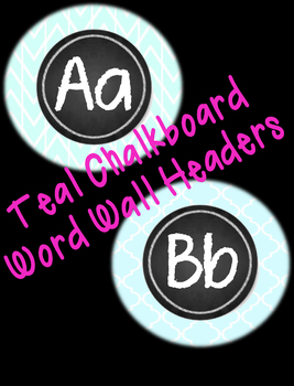 Chalkboard Theme Chevron Aqua Teal Word Wall Letters