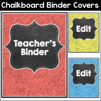 Chalkboard Theme Binder Covers