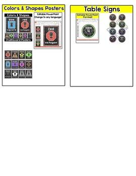 Chalkboard Theme Bundle #1 - Word Wall, Alphabet Posters, Nameplates, Job Labels
