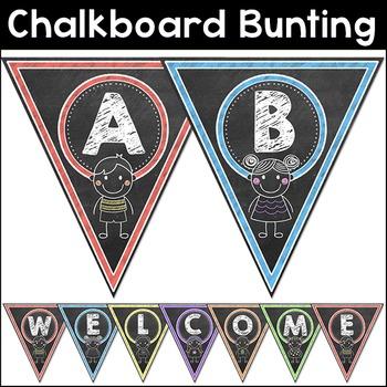 Chalkboard Theme Bunting Pennants