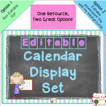 Calendar Set {Editable} Chalkboard Theme