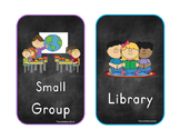 Chalkboard Theme Center/Rotation Schedule Cards