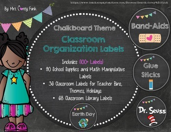 Chalkboard Theme Classroom Labels, Organization, Supplies, Classroom Library