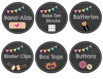 Chalkboard Theme Classroom Organization Labels, Binder Covers, Word Wall, & MORE
