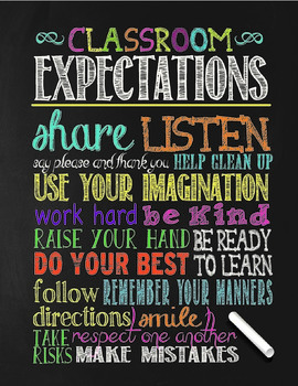 Chalkboard Theme Classroom Poster - Generic - Classroom Expectations