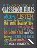 Chalkboard Theme Classroom Rules Poster - Third (3rd) Grade