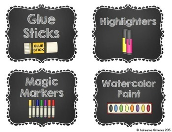 Chalkboard Theme Classroom Supply Labels