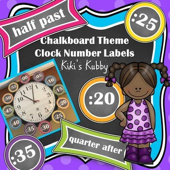 Chalkboard Theme Clock Number Labels