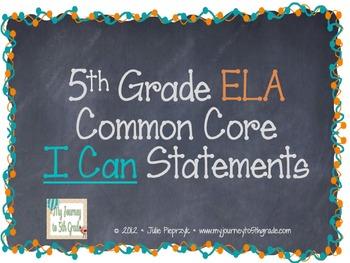 Chalkboard Theme Common Core I Can Statements- ELA- 5th Grade