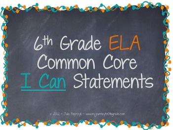 Chalkboard Theme Common Core I Can Statements- ELA- 6th Grade