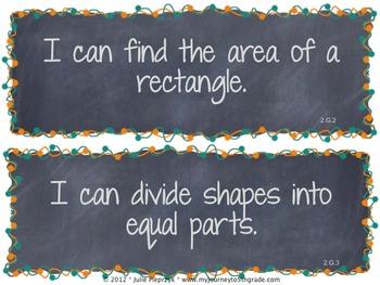 Chalkboard Theme Common Core I Can Statements- Math- 2nd Grade