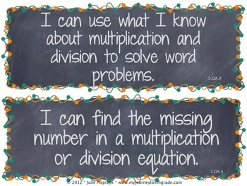 Chalkboard Theme Common Core I Can Statements- Math- 3rd Grade