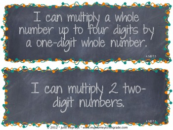 Chalkboard Theme Common Core I Can Statements- Math- 4th Grade
