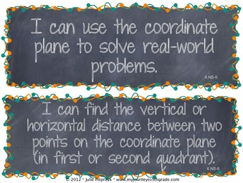 Chalkboard Theme Common Core I Can Statements- Math- 6th Grade