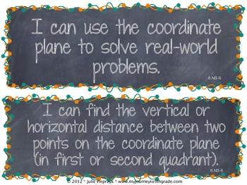 Chalkboard Theme Common Core I Can Statements- Math- 6th Grade