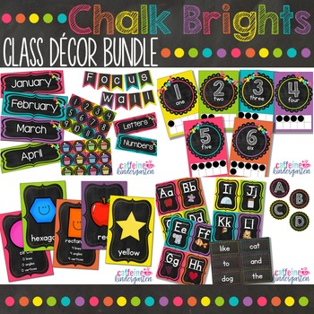 Classroom Decor Bundle - GIANT Set of Black and Bright Chalkboard Theme Decor
