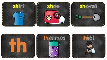 Chalkboard Theme -Digraphs (Ch, Ph, Sh, Th and Wh)