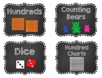 Chalkboard Theme Math Manipulatives Labels