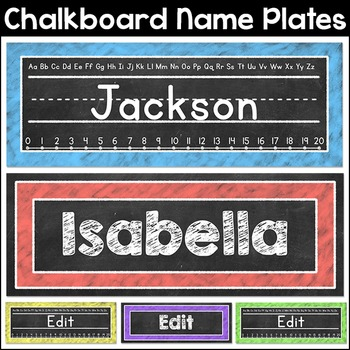 Chalkboard Theme Name Plates Classroom Decor By Pink Cat Studio Tpt