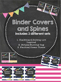 Chalkboard Theme Nautical Ocean Binder Covers & Spines Stripes Bunting Flags