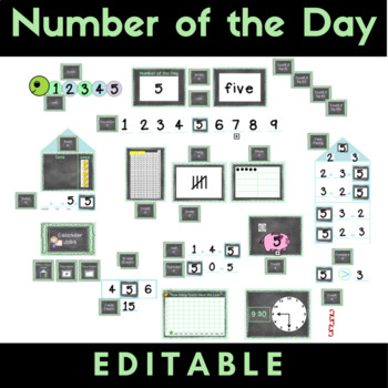 Number of the Day Set {Editable} CCSS - Chalkboard Theme