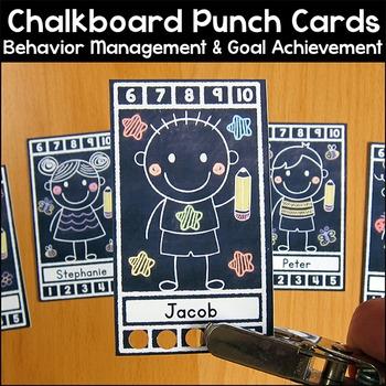 Chalkboard Theme Punch Cards Behavior Management & Goal Achievement Tool