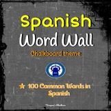 Chalkboard Theme Spanish Word Wall--100 Common Spanish Vocabulary Words