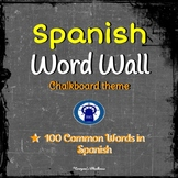SPANISH Word Wall Chalkboard Theme --100 Common Spanish Vocabulary Words
