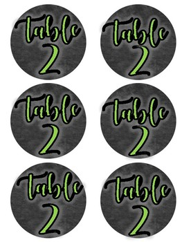 Chalkboard Theme Table Labels